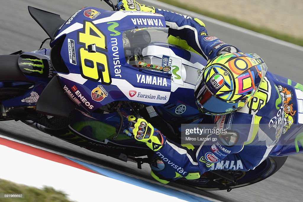 Valentino Rossi of Italy and Movistar Yamaha MotoGP rounds the bend during the MotoGp of Czech Republic - Free Practice at Brno Circuit on August 19, 2016 in Brno, Czech Republic.
