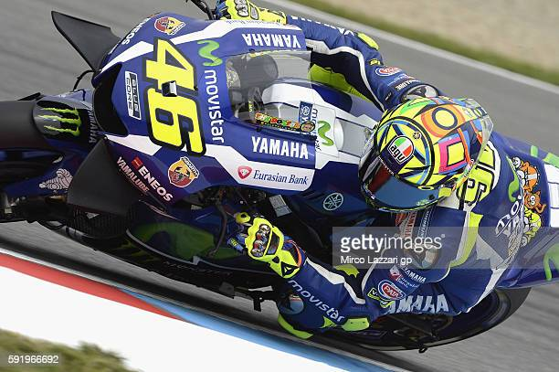 Valentino Rossi of Italy and Movistar Yamaha MotoGP rounds the bend during the MotoGp of Czech Republic Free Practice at Brno Circuit on August 19...