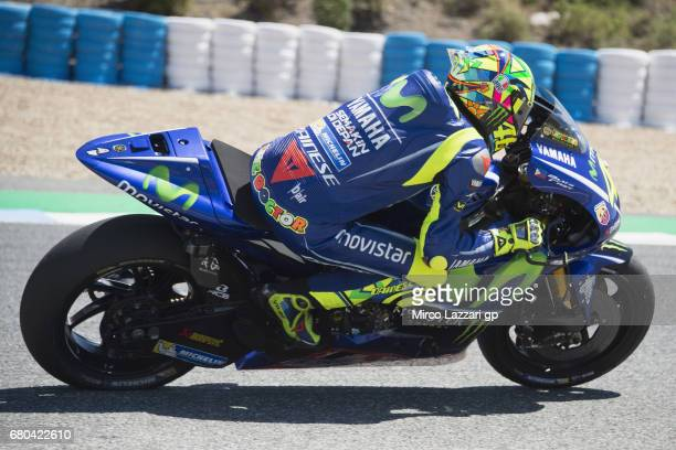 Valentino Rossi of Italy and Movistar Yamaha MotoGP rounds the bend during the MotoGp Tests In Jerez at Circuito de Jerez on May 8 2017 in Jerez de...