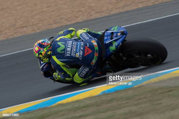 Valentino Rossi of Italy and Movistar Yamaha MotoGP rounds the bend during the MotoGp of France Qualifying on May 20 2017 in Le Mans France