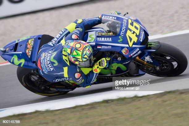 Valentino Rossi of Italy and Movistar Yamaha MotoGP rounds the bend during the MotoGP Netherlands Free Practice on June 23 2017 in Assen Netherlands