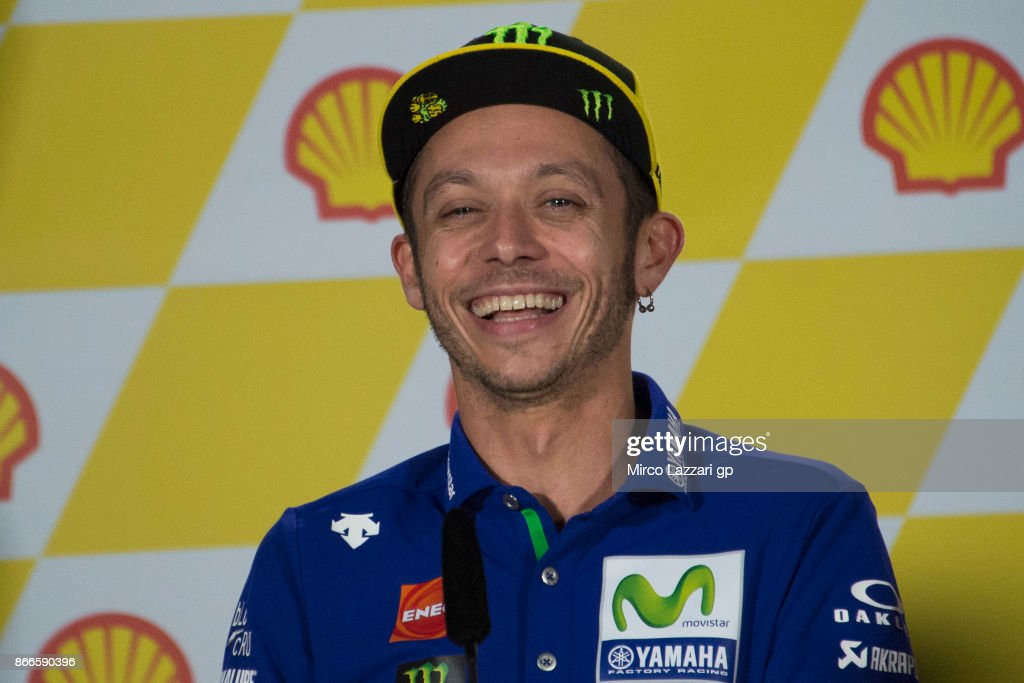 Valentino Rossi of Italy and Movistar Yamaha MotoGP smiles during a press conference ahead of the MotoGP of Malaysia at Sepang Circuit on October 26, 2017 in Kuala Lumpur, Malaysia.
