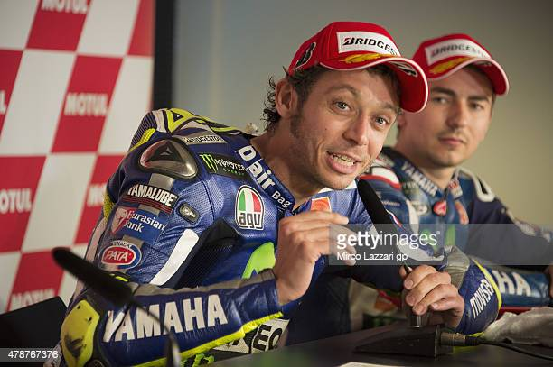 Valentino Rossi of Italy and Movistar Yamaha MotoGP speaks during the press conference at the end of the MotoGP race during the MotoGP Netherlands...