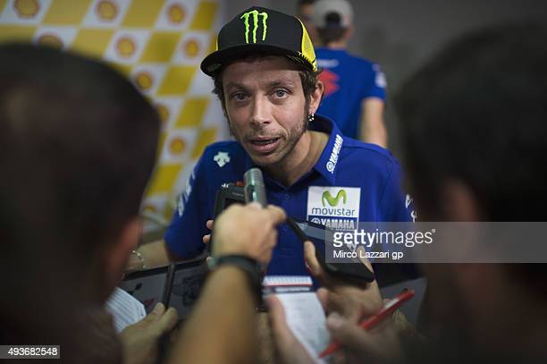 Valentino Rossi of Italy and Movistar Yamaha MotoGP speaks during the press conference ahead of the MotoGP of Malaysia at Sepang Circuit on October...