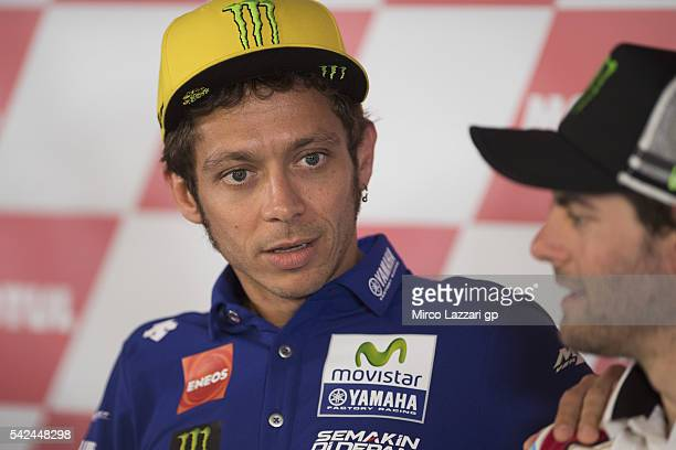 Valentino Rossi of Italy and Movistar Yamaha MotoGP speaks during the press conference preevent during the MotoGP Netherlands Preview at on June 23...
