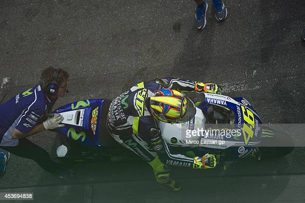 Valentino Rossi of Italy and Movistar Yamaha MotoGP starts from box during the qualifying practice during MotoGp of Czech Republic Qualifying at Brno...