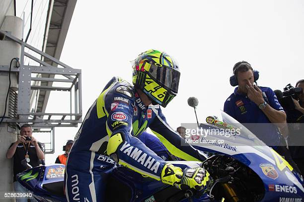 Valentino Rossi of Italy and Movistar Yamaha MotoGP starts from box during the MotoGp of France Free Practice on May 6 2016 in Le Mans France
