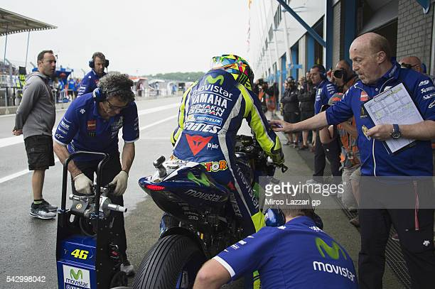 Valentino Rossi of Italy and Movistar Yamaha MotoGP starts from box during the qualifying practice during the at MotoGP Netherlands Qualifying on...