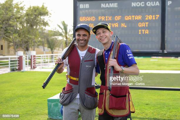 Valentino Rossi of Italy and Movistar Yamaha MotoGP takes part in a shooting lesson with Nasser AlAttiyah London 2012 Men's Skeet Olympic Bronze...
