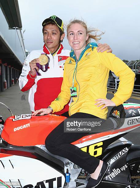 Valentino Rossi of Italy and rider of the Ducati Team Ducati meets Australian Olympic gold medalist Sally Pearson ahead of the Australian MotoGP...