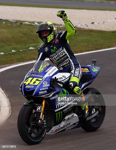 Valentino Rossi of Italy and rider of the Movistar Yamaha MotoGp Yamaha celebrates after winning the 2014 MotoGP of Australia at Phillip Island Grand...