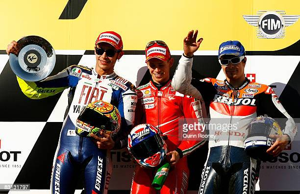 Valentino Rossi of Italy and the Fiat Yamaha Team Casey Stoner of Australia and the Ducati Team and Nicky Hayden of the USA and the Repsol Honda Team...