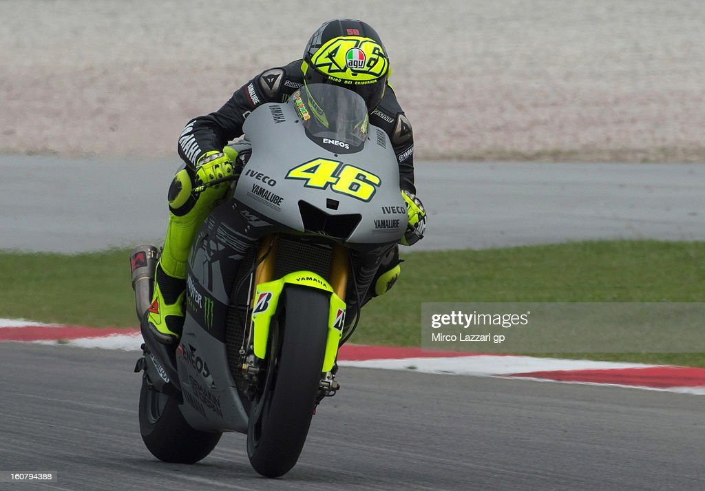 Valentino Rossi of Italy and Yamaha Factory Racing heads down a straight during the MotoGP Tests in Sepang - Day Four at Sepang Circuit on February 6, 2013 in Kuala Lumpur, Malaysia.