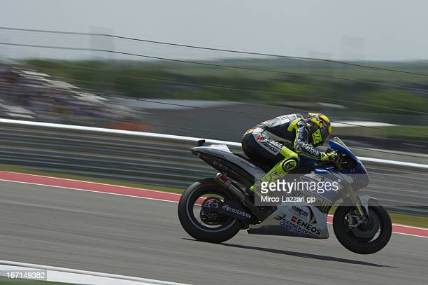 Valentino Rossi of Italy and Yamaha Factory Racing heads down a straight during the MotoGP race during the MotoGp Red Bull US Grand Prix of The...