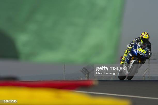 Valentino Rossi of Italy and Yamaha Factory Racing heads down a straight during the MotoGp Of France Free Practice on May 17 2013 in Le Mans France