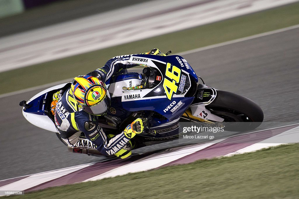 <a gi-track='captionPersonalityLinkClicked' href=/galleries/search?phrase=Valentino+Rossi&family=editorial&specificpeople=157603 ng-click='$event.stopPropagation()'>Valentino Rossi</a> of Italy and Yamaha Factory Racing rounds the bend during the MotoGp of Qatar - Qualifying at Losail Circuit on April 6, 2013 in Doha, Qatar.