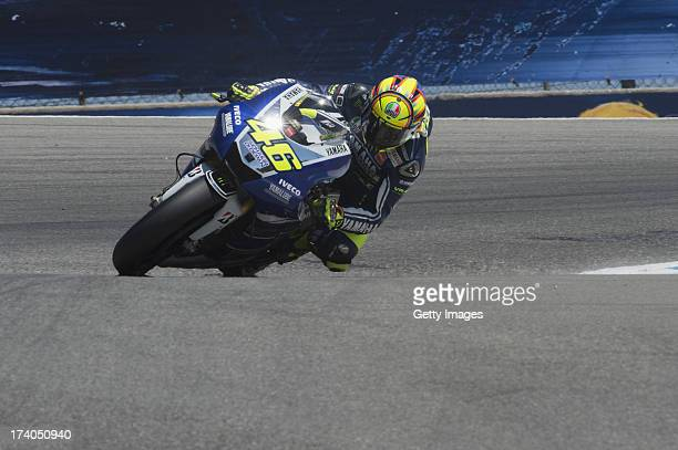 Valentino Rossi of Italy and Yamaha Factory Racing rounds the bend during the MotoGp Red Bull US Grand Prix Free Practice at Mazda Raceway Laguna...