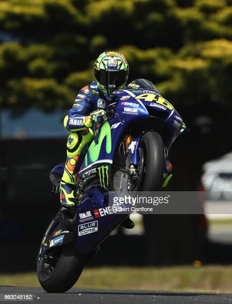 Valentino Rossi of Italy rides the MOVISTAR YAMAHA MotoGP Yamaha during free practice for the 2017 MotoGP of Australia at Phillip Island Grand Prix...