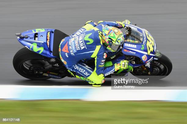 Valentino Rossi of Italy rides the MOVISTAR YAMAHA MotoGP Yamaha during practise ahead of qualifying for the 2017 MotoGP of Australia at Phillip...