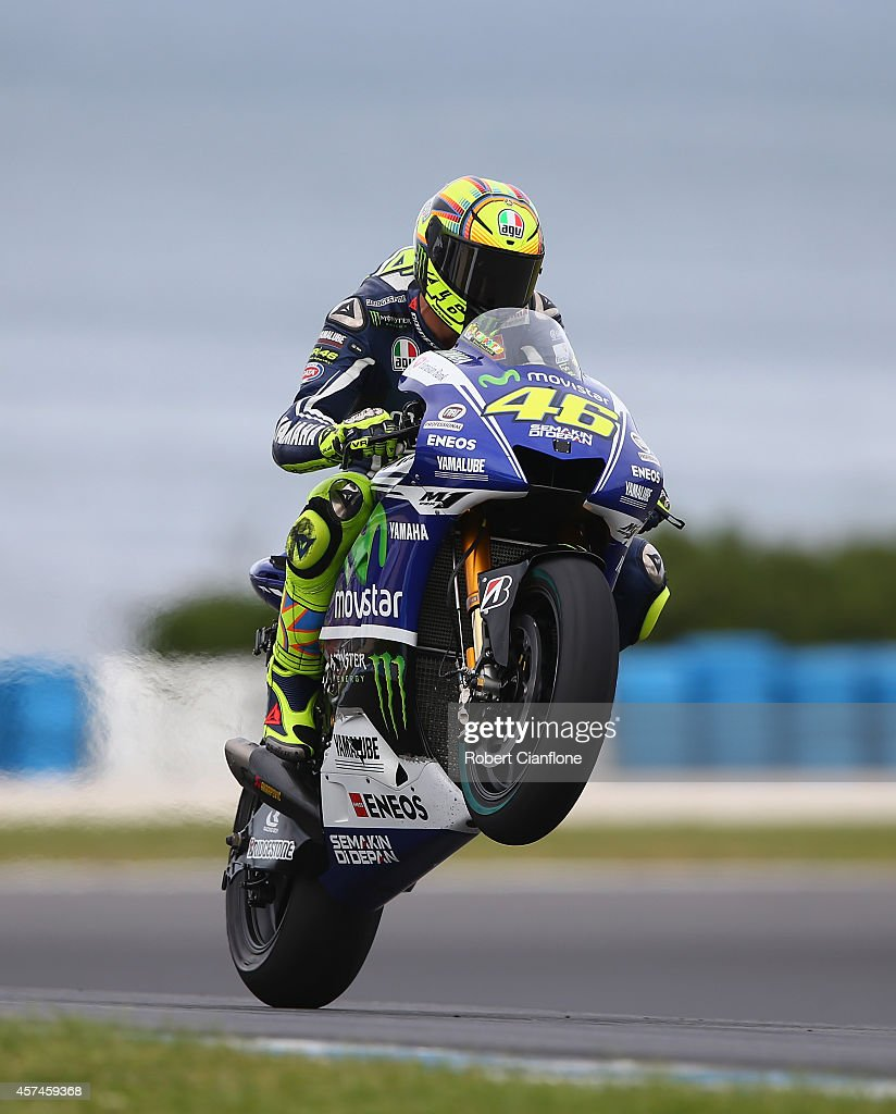 Valentino Rossi of Italy rides the #46 Movistar Yamaha MotoGp Yamaha during the warm up session for the 2014 MotoGP of Australia at Phillip Island Grand Prix Circuit on October 19, 2014 in Phillip Island, Australia.