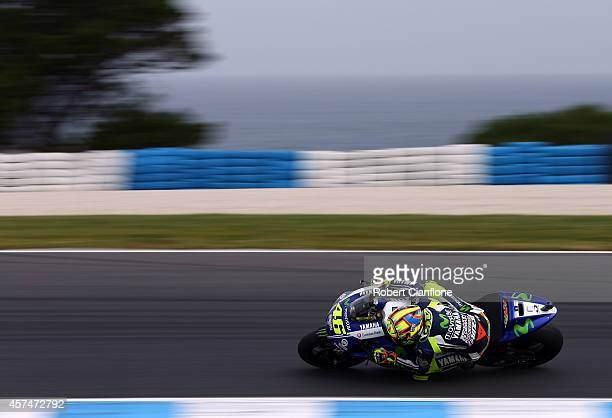 Valentino Rossi of Italy rides the Movistar Yamaha MotoGp Yamaha during the 2014 MotoGP of Australia at Phillip Island Grand Prix Circuit on October...