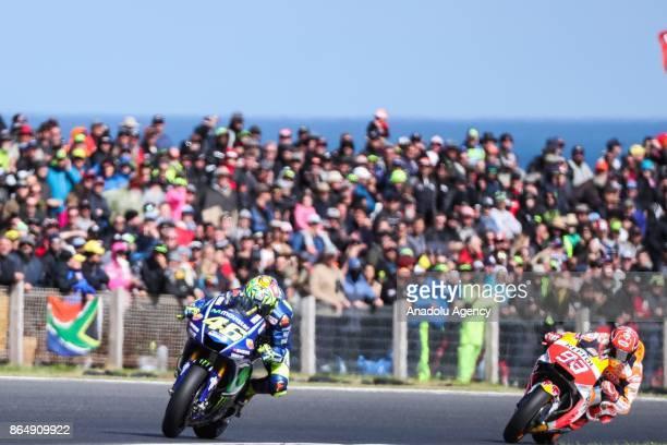 Valentino Rossi of Italy riding for Movistar Yamaha MotoGP ahead of Marc Marquez of Spain Repsol Honda Team during the 2017 MotoGP of Australia...
