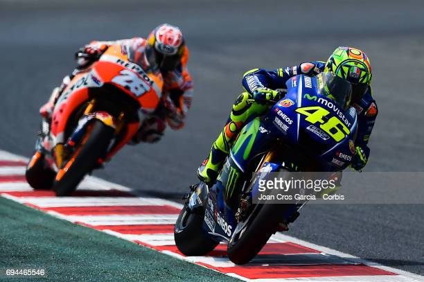 Valentino Rossi of Movistar Yamaha Moto GP team and Dani Pedrosa of Repsol Honda Team riding his bike during the Free Practice 2 Moto GP of Catalunya...