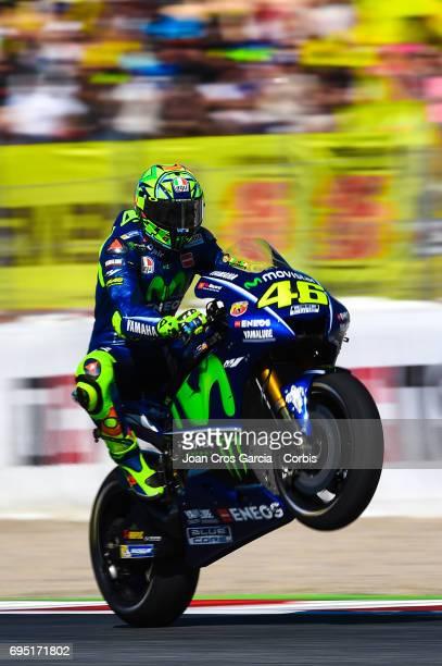 Valentino Rossi of Movistar Yamaha Moto GP team greeting his fans after the Moto GP race Moto GP of Catalunya at Circuit de Catalunya on June 11 2017...