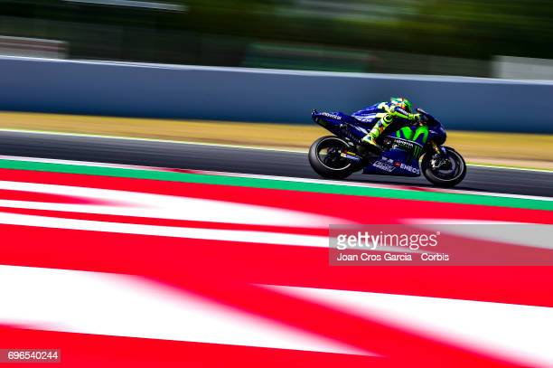 Valentino Rossi of Movistar Yamaha Moto GP team riding his bike during the Free Practice 3 Moto GP of Catalunya at Circuit de Catalunya on June 10...