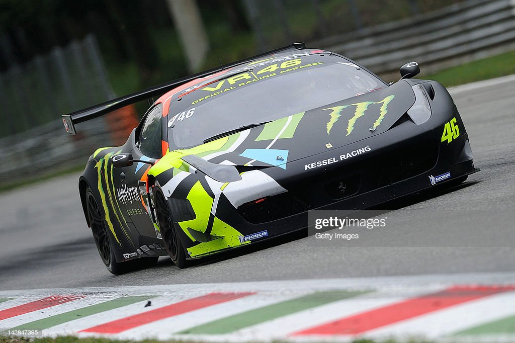 Valentino Rossi of team Team Kessel Racing - Ferrari 458 Italia in action during the Blancpain GT Endurance test day one at Autodromo di Monza on April 13, 2012 in Monza, Italy.