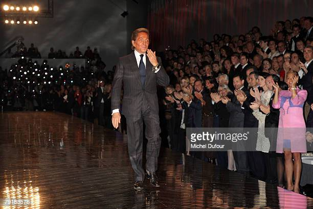 Valentino walks on the catwalk for final at the Valentino Fashion show during Paris Fashion Week SpringSummer 2008 on January 23 2008 at Musee Rodin...