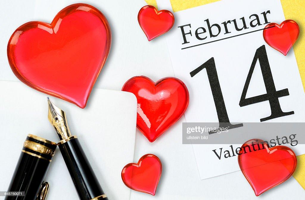 Valentinstagsbrief Und Kalenderblatt 14. Februar