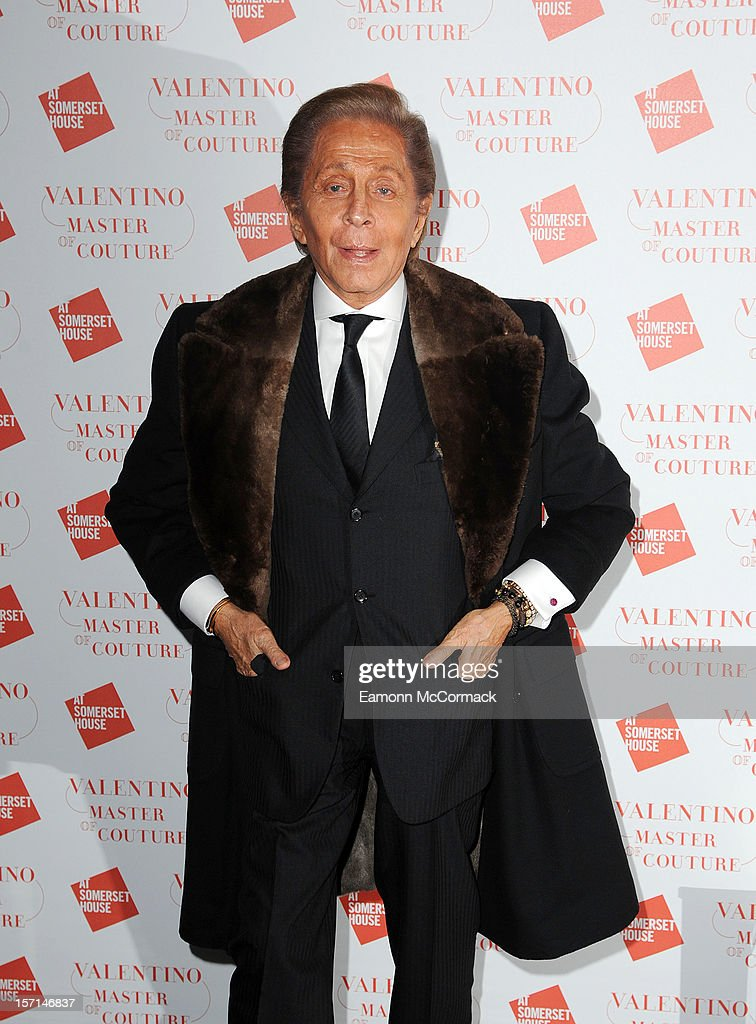 Valention Garavani attends the VIP view of Valentino: Master of Couture at Embankment Gallery on November 28, 2012 in London, England.