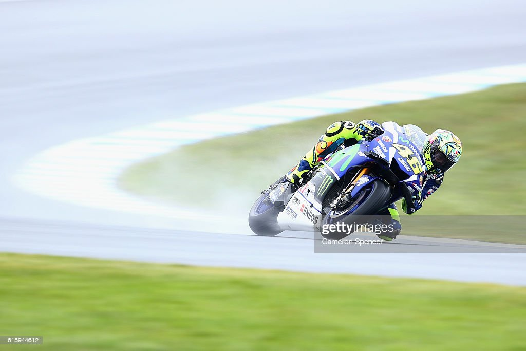 Valention Rossi of Italy and Movistar Yamaha MotoGP rides during free practice for the 2016 MotoGP of Australia at Phillip Island Grand Prix Circuit on October 21, 2016 in Phillip Island, Australia.