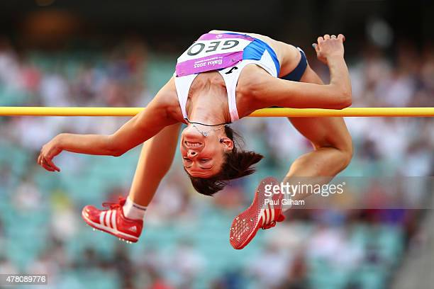 Valentyna Liashenko of Georgia competes in the Women's High Jump during day ten of the Baku 2015 European Games at the Olympic Stadium on June 22...