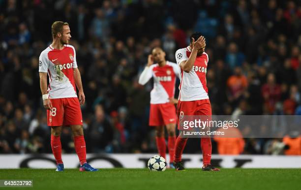 Valere Germain and Radamel Falcao Garcia of AS Monaco look despondent during the UEFA Champions League Round of 16 first leg match between Manchester...