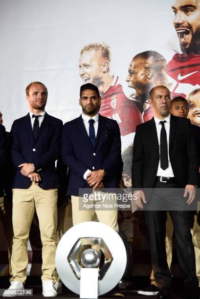 Valere Germain Falcao and Leonardo Jardim head coach of Monaco during AS Monaco French Ligue 1 Winners Parade on May 21 2017 in Monaco Monaco