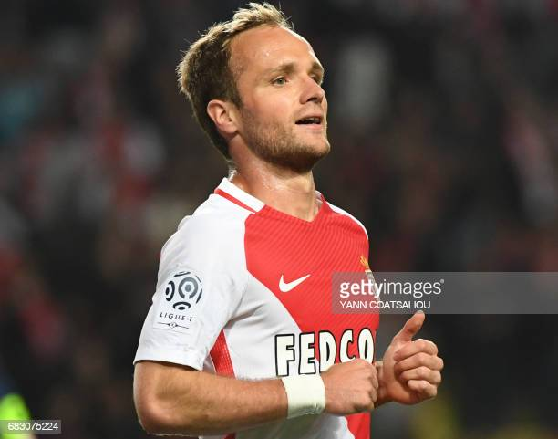 Valere Germain Monaco's French forward celebrates after scoring a goal after scoring a goal during the French L1 football match between Monaco and...
