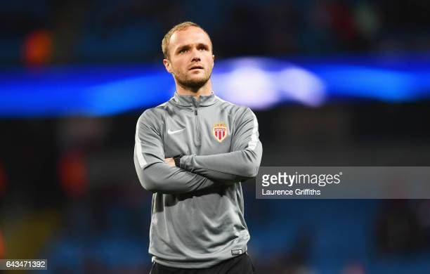 Valere Germain of AS Monaco walks on the pitch prior to the UEFA Champions League Round of 16 first leg match between Manchester City FC and AS...