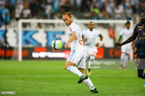 Valere Germain of Marseille during the Ligue 1 match between Olympique Marseille and Dijon FCO at Stade Velodrome on August 6 2017 in Marseille
