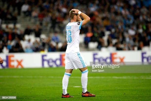 Valere Germain of Marseille looks dejected during the Europa League match between Olympique de Marseille and Vitoria Guimaraes SCat Stade Velodrome...