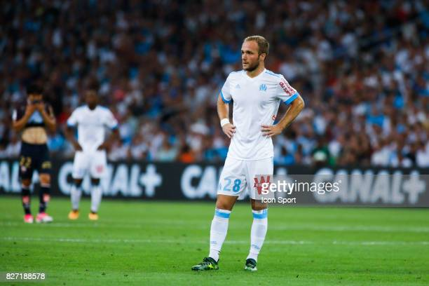Valere Germain of Marseille looks dejected during the Ligue 1 match between Olympique Marseille vs Dijon FCO at Stade Velodrome on August 6 2017 in...