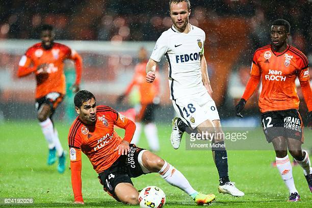 Valere Germain of Monaco and Wesley Lautoa of Lorient during the Ligue 1 match between Fc Lorient and As Monaco at Stade du Moustoir on November 18...