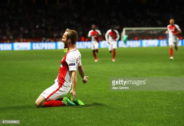 Valere Germain of Monaco celebrates after scoring the third goal during the UEFA Champions League Quarter Final second leg match between AS Monaco...