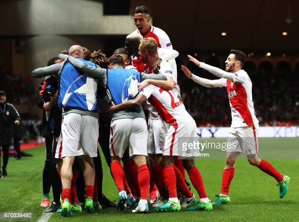 Valere Germain of Monaco is congratulated after scoring the third goal during the UEFA Champions League Quarter Final second leg match between AS...