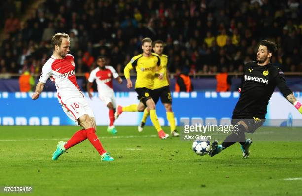 Valere Germain of Monaco scores the third goal during the UEFA Champions League Quarter Final second leg match between AS Monaco and Borussia...