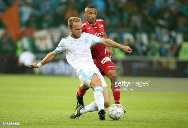 Valere Germain of OM during the UEFA Europa League third qualifying round second leg match between KV Oostende and Olympique de Marseille at Versluys...