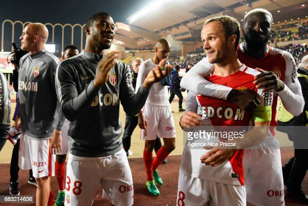 Valere Germain Thomas Lemar and Tiemoue Bakayoko of Monaco during the Ligue1 match between As Monaco and Lille OSC at Louis II Stadium on May 14 2017...