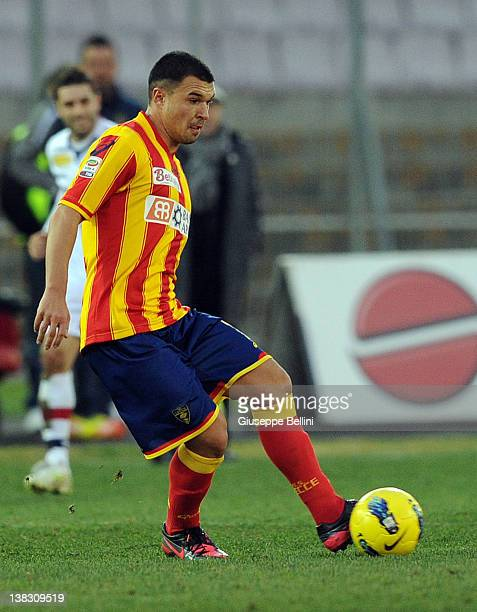 Valeri Bojinov of Lecce in action during the Serie A match between US Lecce and Bologna FC at Stadio Via del Mare on February 5 2012 in Lecce Italy