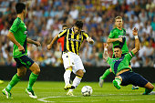 Valeri Kazaishvili of Vitesse shoots on goal in front of Jose Fonte and Maya Yoshida of Southampton during the UEFA Europa League third qualifying...